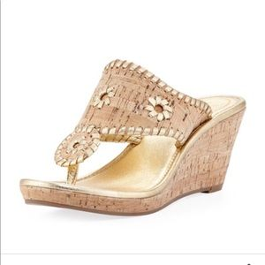 [Jack Rogers] Gold cork wedge sandal